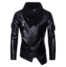 Men's Motorcycle Leather Jacket Fashion Lapel Fur Irregular Coat