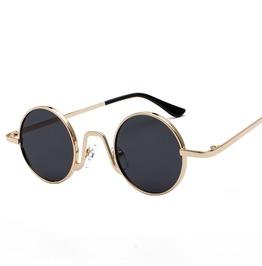Unisex's Seampunk Retro Round Goggles Metal Sunglasse