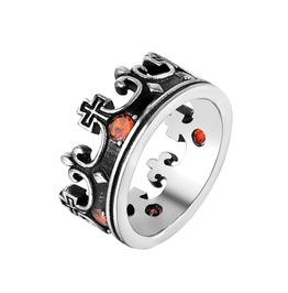 Unisex's Retro Royal King Crown Red Gemstone Inlaid Domineering Ring