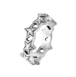 Women's Retro Five Pointed Star Polished Titanium Stainless Steel Ring