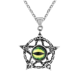 Unisex's Evil Eye Cats Jewelry Pendant Titanium Stainless Steel Necklace
