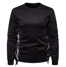 Men's Fringed Deco Slim Fitted O Neck Hoodies