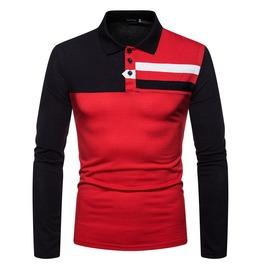 Men's Colorblock Color Long Sleeve Polo Shirt