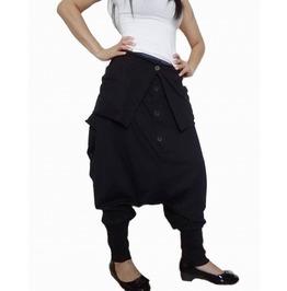 Drop Crotch Pants Black Unisex Gaucho Fashion
