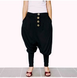 Drop Crotch Pants Black Asymmetrical Gothic Ninja Style P47