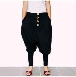 Drop Crotch Pants Black Asymmetrical Gothic Ninja Style P47