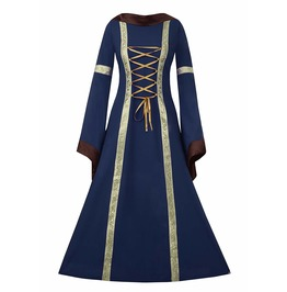 Medieval Gothic Victorian Gown Robe Long Maxi Bandage Dress