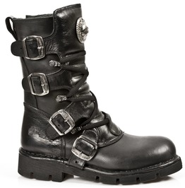 New Rock Shoes Black Mid Calf Lace Up Boots