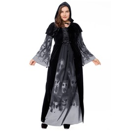 Gothic Witch Ghosts Skulls Print Bandage Flare Sleeve Halloween Dress