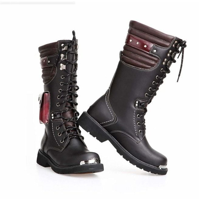 British Military Combat Lace Up Pu Leather Mid Calf