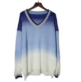 Women's Sexy V Neck Gradual Change Colorblock Sweater