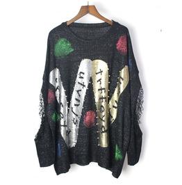 Women's Fashion Graffiti Printed Distressed Knit Sweater