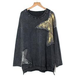 Women's Stars Gilding Patch Loose Long Sleeve T Shirt