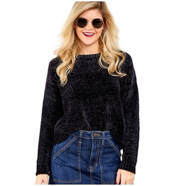 Women's Casual Round Neck Cozy Velvet Loose Knitted Pullover Sweater