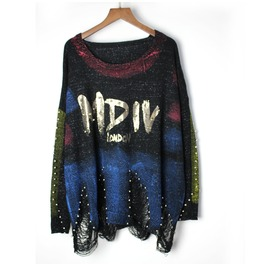 Women's Gilding Nail Beads Colorblock Distressed Sweater