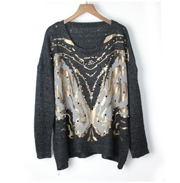 Women's Fashion Distressed Gilding Printed Knit Sweater