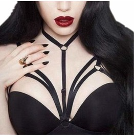 Hollow Cup Sexy Harness Bra Elastic Goth Womens Accessories