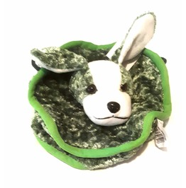 Awesome Vintage Crush Velvet Green Puppy Dog Teddy Head Circle Design Bag