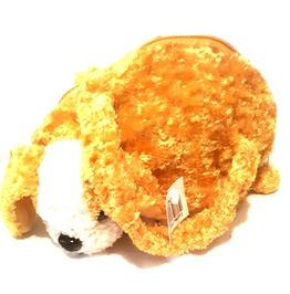Awesome Vintage Crush Velvet Golden Yellow Puppy Dog Teddy Zip Bag