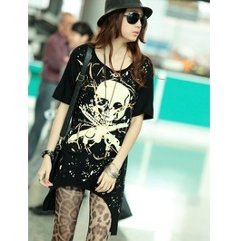 Stylish Hand Printed Skull Long T Shirt