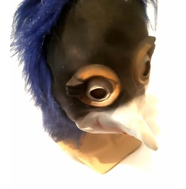 Awesome! New Vintage Unique Latex Rubber Penguin Wacky Bird Mask & Blue Hai