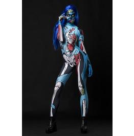 Comic Zombie Skeleton Full Body Halloween Jumpsuit Costume