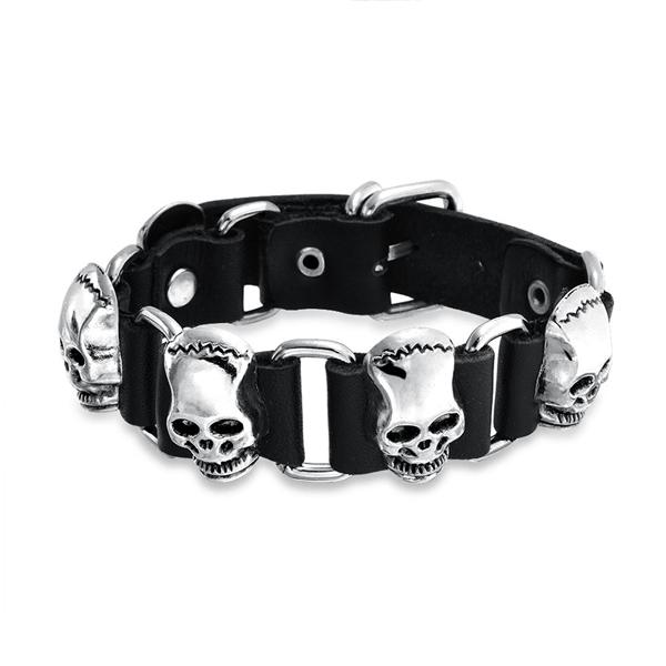 Skull Bracelet - Sterling Silver, Stainless Steel & Charm for Men and Women.