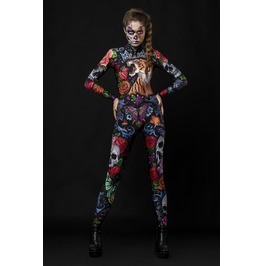 e0a8cb8ce1172 Tattoo Style Full Body Halloween Jumpsuit Costume