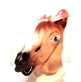 Cool Vintage New Latex Rubber Brown Horse Head Mask