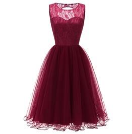 Women's Vintage Floral Lace Sleeveless Formal Swing Dress