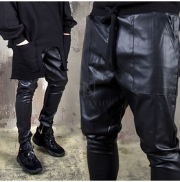 Coated Zipper Leather Banded Pants 256