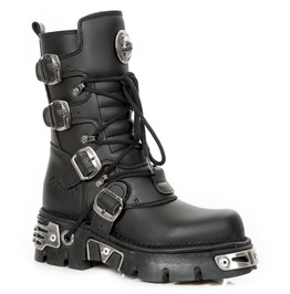 New Rock Shoes Black Flat Heel With 4 Buckle Straps High Boots
