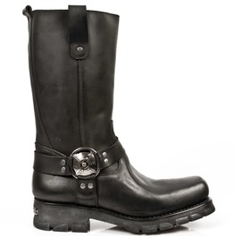 New Rock Shoes Black Flat Sole Rider's Boots