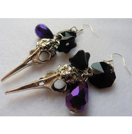 Raven Skull Earrings, Crow, Evil, Esoteric, Witch, Nevermore, Raven, Skull