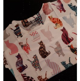 Purrfect Cat Design Top / T Shirt With Variety Of Patterns One Size Small