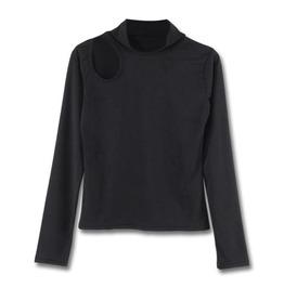 Hollow Out Turtleneck Long Sleeve Womens Shirt Top