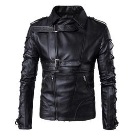 Men Pu Leather Jacket Coat Fashion Motorcycle Outwear Coats Slim Fit Tops
