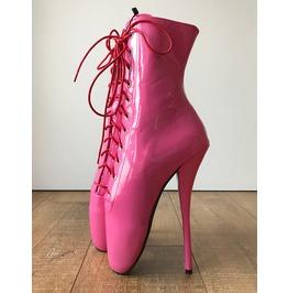 66146f11bdc Rtbu Simona Extreme Fetish Ballet Laceup Black Pvc Boots Baby Pink Patent