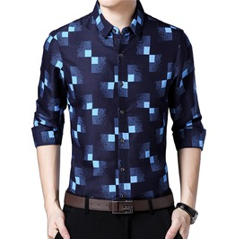 Pixel Checkered Design Slim Fit Long Sleeve Shirt Men