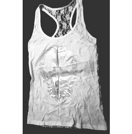 Beautiful White Lace With Shiny Silver Skull Head Design Vest Top / T Shirt