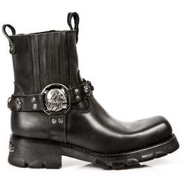 Black Flat Heels Rear Belt Button Rider's Boots