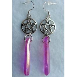Pentacle Queen Pink Crystal Quartz Earrings, Aura, Pentagram, Pastel, Witch