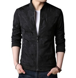 Zipper Closure Camo Pattern Rib Sleeve Casual Bomber Jacket