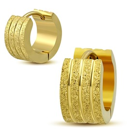 7mm Gold Color Plated Stainless Steel Sandblasted Stripe Grooved Huggie