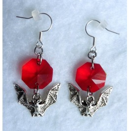 Red Bat Earrings, Goth, Witch, Bathory, Vampire, Dracula, Evil, Blood, Dark