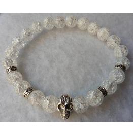 Skull Cracked Crystal Bracelet, Wicca, Witch, Quartz, Pagan, Magic, Tribal