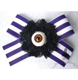 Eye Of The Steampunk Barber Hair Pin Purple White Stripes Tim Burton Goth