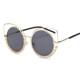 Retro Fashion Cat Eye Frame Oversized Metal Uv Sunglasses For Women