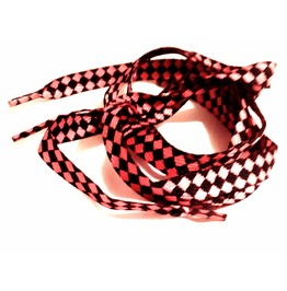 Cool Black And Pink Harlequin Diamond Print Shoe Laces X 2
