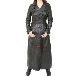 Women Long Black Leather Coat Full Length Double Breasted Trench Coat Women